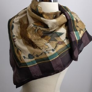 Silk? scarf with leaves and autumn colors-35x35 in